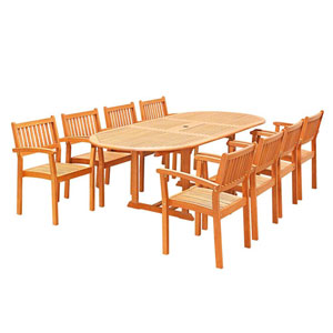 Malibu Outdoor 9-piece Wood Patio Dining Set with Extension Table and Stacking Chairs