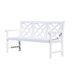Bradley Eco-friendly 5-foot Outdoor White Wood Garden Bench