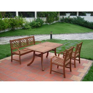 Malibu Outdoor 4-piece Wood Patio Dining Set with 5-foot Bench and Armchairs
