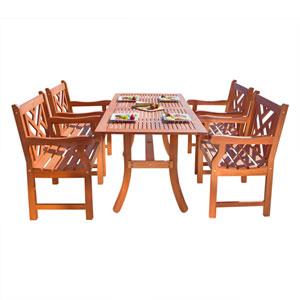 Atlantic Outdoor Five-Piece Eucalyptus Wood Dining Set