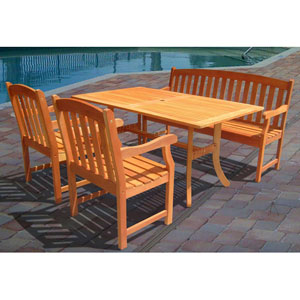 Malibu Outdoor 4-piece Wood Patio Dining Set with 5-foot Bench