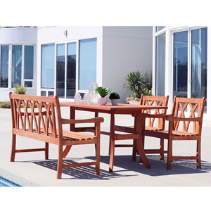 Malibu Outdoor 4-piece Wood Patio Dining Set with Curvy Leg Table and 4-foot Bench