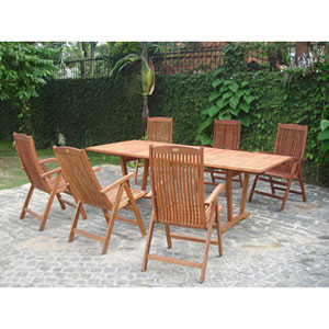 Airblade Outdoor Seven-Piece Dining Set with Extension Table