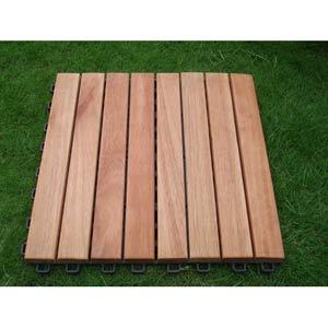Set of Ten Straight Eight-Slat FSC Eucalyptus Hardwood Deck Tiles
