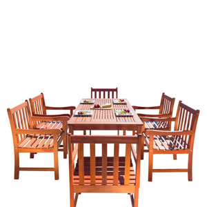Malibu Outdoor 7-piece Wood Patio Dining Set