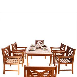 Malibu Outdoor 7-piece Wood Patio Dining Set