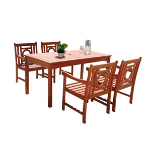 Malibu Outdoor 5-piece Wood Patio Dining Set
