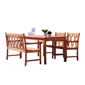 Malibu Outdoor 4-piece Wood Patio Dining Set with 4-foot Bench and Armchairs