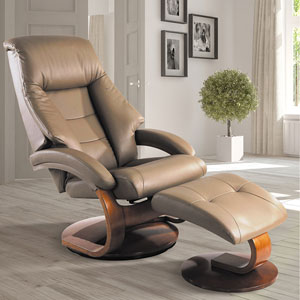 Sand (Tan) Top Grain Leather Swivel, Recliner with Ottoman