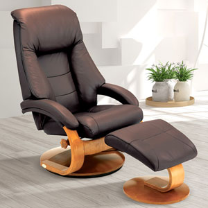 Espresso (Brown) Top Grain Leather Swivel, Recliner with Ottoman