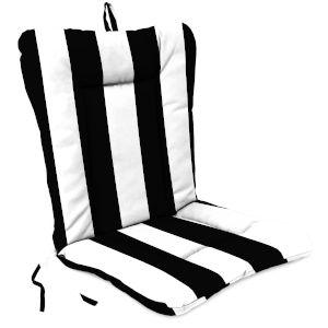 Cabana Stripe Black Reversible Outdoor Chair Cushion