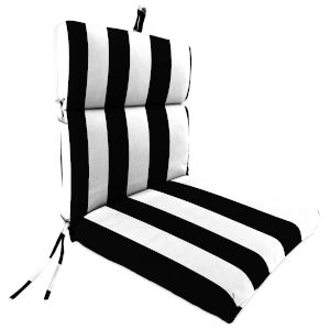 Cabana Stripe Black 22 x 44 Inch Outdoor Chair Cushion