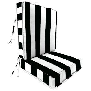 Cabana Stripe Black 22 x 45 Inch Outdoor Chair Cushion