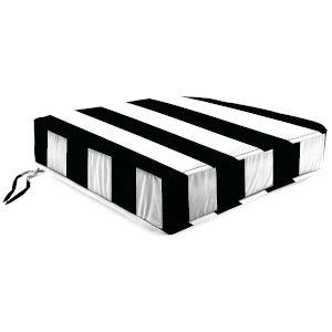 Cabana Stripe Black Outdoor Boxed Edge Deep Seat Cushion