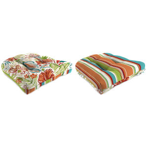 Covert Stripe Breeze and Valeda Breeze 18 x 18 Inches Reversible Wicker Seat Cushion, Set of Two