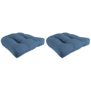 Canvas Sapphire Blue 18-Inch x 18-Inch x 4-Inch Outdoor Wicker Chair Cushions- Set of Two