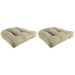 Dupione Dove Rain 18-Inch x 18-Inch x 4-Inch Outdoor Wicker Chair Cushions- Set of Two