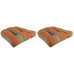 Passage Poppy Stripe 18-Inch x 18-Inch x 4-Inch Outdoor Wicker Chair Cushions- Set of Two