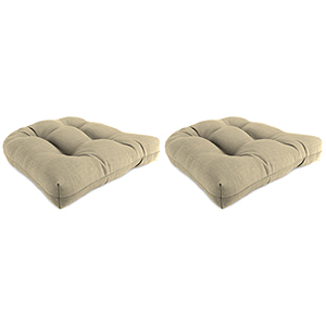 Spectrum Sand Rain 18-Inch x 18-Inch x 4-Inch Outdoor Wicker Chair Cushions- Set of Two