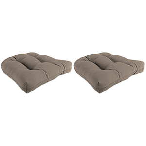 Cast Shale 18-Inch x 18-Inch x 4-Inch Outdoor Wicker Chair Cushions- Set of Two