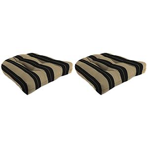 Berenson Stripe Tuxedo 18-Inch x 18-Inch x 4-Inch Outdoor Wicker Chair Cushions- Set of Two