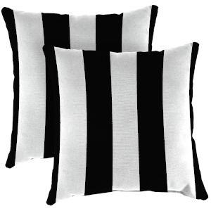 Cabana Stripe Black Outdoor Throw Pillow, Set of Two