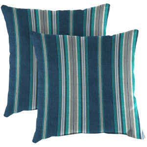 Terrace Stripe Caribe Outdoor Throw Pillow, Set of Two