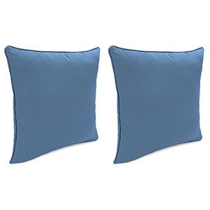 Canvas Sapphire Blue 18-Inch x 18-Inch Outdoor Toss Pillows with Welt- Set of 2