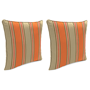 Passage Poppy Stripe 18-Inch x 18-Inch Outdoor Toss Pillows with Welt- Set of 2