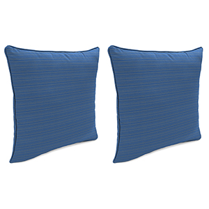 Dupione Stripe Galaxy 18-Inch x 18-Inch Outdoor Toss Pillows with Welt- Set of 2