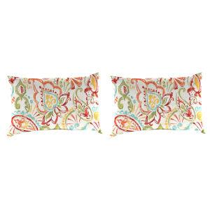 Mallitta Papaya Outdoor Lumbar Throw Pillow, Set of Two