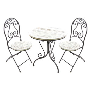White 3 Piece Bistro Set
