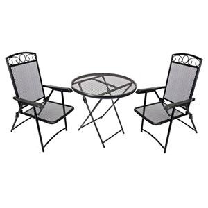Folding Chat Set Black Wrought Iron Bistro Set