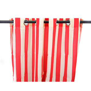 Outdoor Curtains 54-Inch x 96-Inch Cherry Stripe Polyester Outdoor Curtain