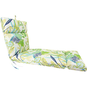 Aquamarine Seaweed Pattern Universal Chaise Cushion with French Edge
