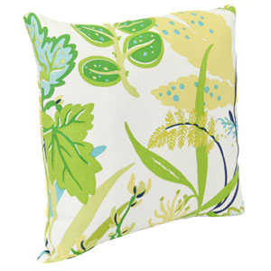 Outdoor Toss Pillows Aquamarine Seaweed Pattern 16-Inch Square Toss pillow