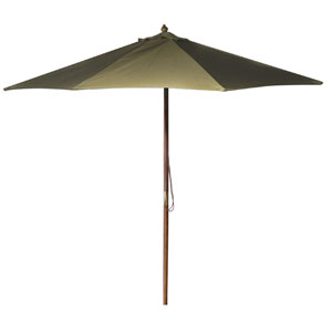 Wooden Market Umbrellas Khaki 9-Foot Round Wooden Umbrella