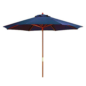 Wooden Market Umbrellas Royal Blue 9-Foot Round Wooden Umbrella