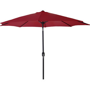 Steel Market Umbrellas Burgundy 9-Foot Round Steel Umbrella