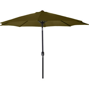 Steel Market Umbrellas Khaki 9-Foot Round Steel Umbrella
