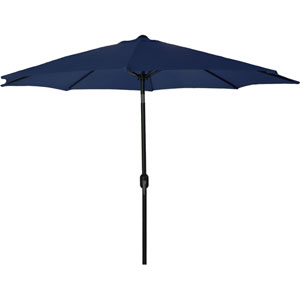 Steel Market Umbrellas Navy 9-Foot Round Steel Umbrella