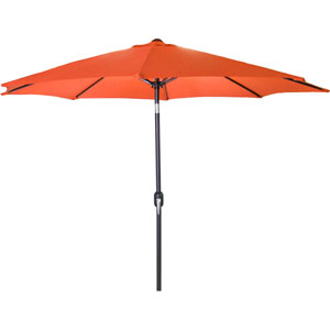 Steel Market Umbrellas Orange 9-Foot Round Steel Umbrella