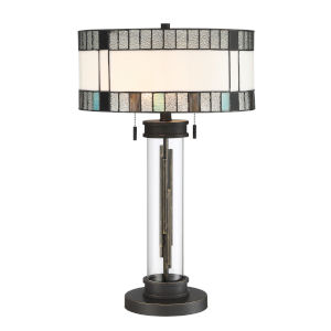 Luisa Matte Black Clear 24-Inch Two-Light Table Lamp
