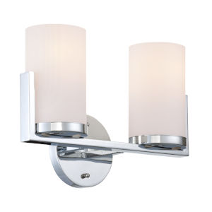 Caesarea Frosted Two-Light Bath Vanity