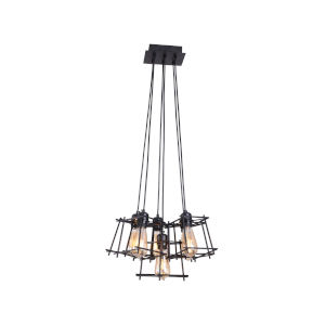 Kansas Matte Black 19-Inch Six-Light Pendant