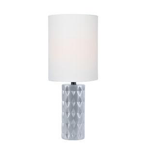 Delta Silver White Linen One-Light Table Lamp