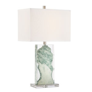 Cleon Marbleized Clear White One-Light Table Lamp