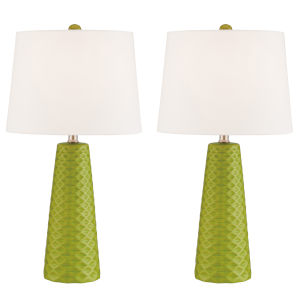 Muriel Green Two-Light Table Lamp, Set of Two