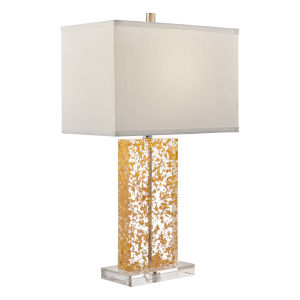 Glynnis Gold Leaf Clear White One-Light Table Lamp