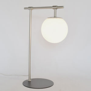 Lencho Brushed Nickel Frost Glass One-Light Table Lamp